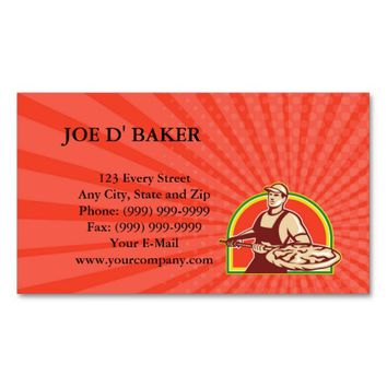 Business card Baker Holding Peel With Pizza Pie Re