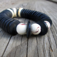 Black Shell , Rough Cut, Tiger Coral, Statement Cuff, Color Block , Eco Friendly , Sustainable