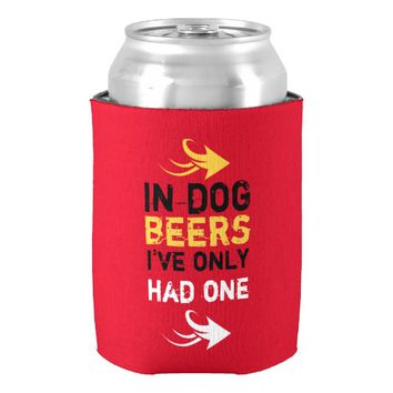 Red and yellow beer quote can cooler