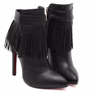 Fringe Leather Heel Women Ankle Boots