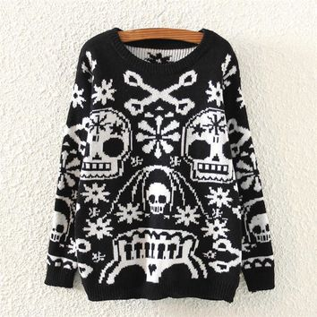 Day-First™ Womens Skull Pattern Knitted Sweater