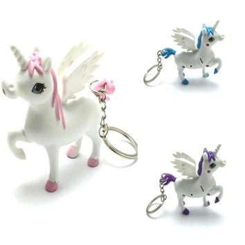 2018 NEW Unicorn Keyring Holder Horse Key Chains LED Light Sound Cartoon Design Gift