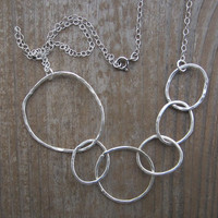 Multi-Hoop Statement Necklace, Silver Hoop Necklace