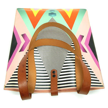 Leather Tote / Laptop bag - Tribal Geometric