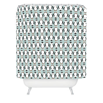 Allyson Johnson Penguin Pattern Shower Curtain