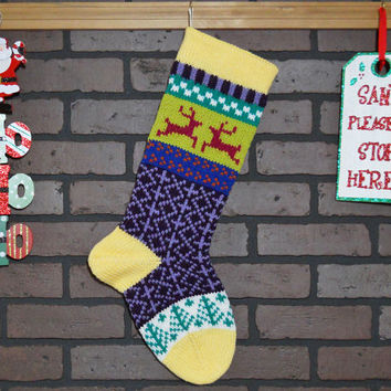 Hand Knit Christmas Stocking with Yellow Cuff, Pink Reindeer and Green Trees, Fair Isle Knit, colorful stocking, can be Personalized