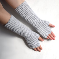 Knit fingerless gloves in light grey acrylic, arm warmers, vegan, office gloves, handknit armwarmers, womens size XS to L, mens size M L