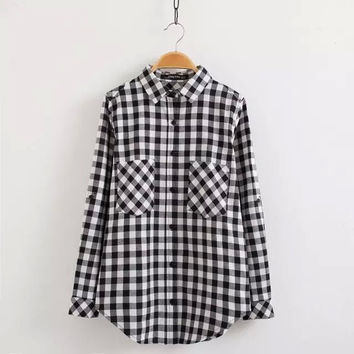 Women GINGHAM PLAID SHIRTS elagant pockets long sleeve blouses casual loose turn-down collar tops LT646