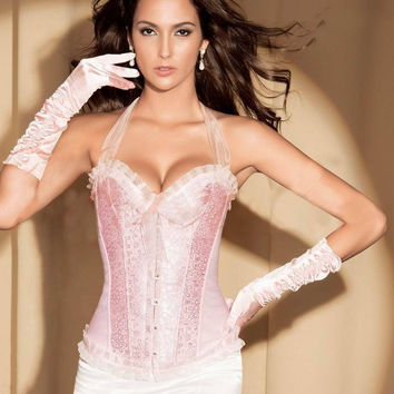 Waist Body Sexy Shaper High Quality Stylish Pink Lace Push Up Corset [4965297348]