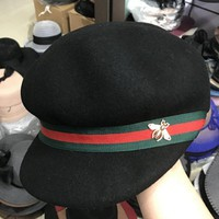 MDIGV9O Gucci Fashion Trending Retro Bee Embroider Red Green Stripe Hat Cap In Black G