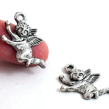 Metal Angel Cherub Charm - one pair - Antique Silver - Gothic Victorian Style - 28 x 20mm - Jewellery and Craft Supplies by DeeDeeSupplies
