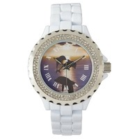 Dolphins at sunrise wrist watches