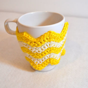 Chevron Coffee Cozy, Choose Your Color, Ready to Ship, Crochet Coffee Sleeve, Eco-friendly mug wrap, Reusable cup sleeve