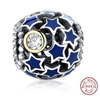 Deep Night Star Bead / Charm 925 Sterling Silver Authentic fit Pandora Bracelet