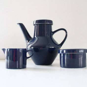 Vintage Melitta Germany Retro Coffee/Tea Set Creamer Sugar Bowl Cobalt Indigo Navy Blue and White 1970's