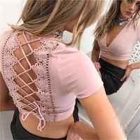 Patchwork Sexy V-neck Lace Tops T-shirts [10687493639]