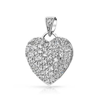 Bling Jewelry Pave CZ Puffed Heart .925 Sterling Silver Pendant Necklace 18 Inch - Walmart.com