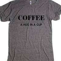 Coffee - a hug in a cup-Unisex Athletic Grey T-Shirt