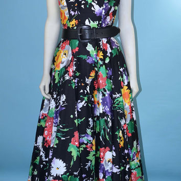 "Vintage 80s Black Floral Halter Top Racerback Party Dress/ Tea Length Full Skirt /50s Style Glam Day Dress /Garden Party Dress/ 26"" Waist S"