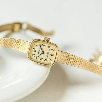 Rectangular women wrist watch vintage, gold plated watch bracelet Seagull, sleek lady watch small gift, cocktail watch wedding gift her