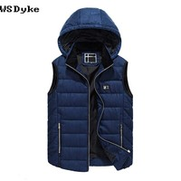 Casual Hooded Body warmers For Man Thick Detachable Cap Winter Vest