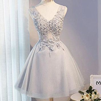 Fashion sexy show thin lace flower splicing dress