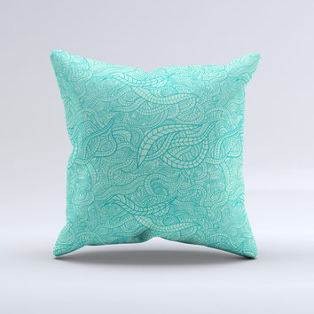 Teal Leaf Laced Pattern ink-Fuzed Decorative Throw Pillow
