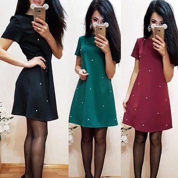 Azzpl Summer Women Casual Dress Short Sleeved Bodycon Mini Dresses Pearl Design Dark Green Wine Red Black S-XXXL Plus size