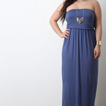 Solid Jersey Knit Strapless Maxi Dress