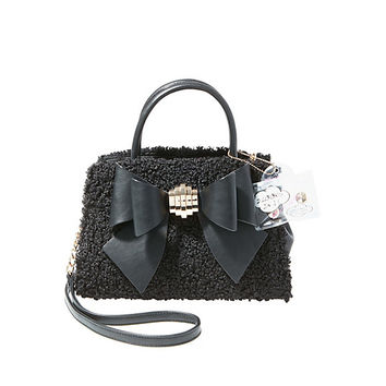 BOW YOU SEE IT FUZZY REMOVABLE BOW SATCHEL: Betsey Johnson