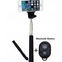 Extendable Selfie Handheld Stick Monopod Wireless Bluetooth Remote Control Black