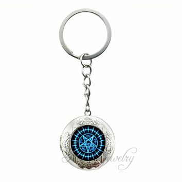 Pentagram Locket Pendant Key Chain Ring Vintage Pentacle Wiccan Keychain Pentagram Jewelry Glass Cabochon Occult Key Chains