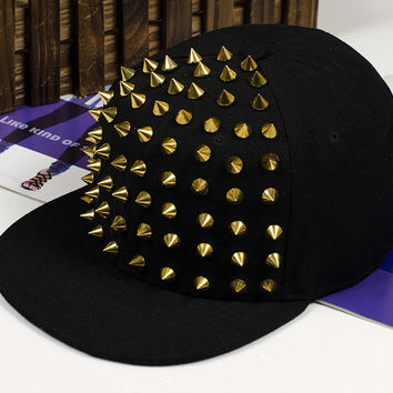 Punk Rivets Hip Hop Cap