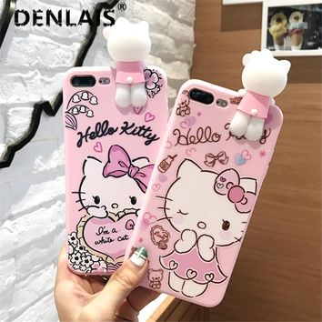 Cute 3D Hello Kitty Cat Cartoon Case Silicone Soft Phone Cover For iPhone X 8 7 7Plus 6 6s 6Plus 5 5s Phone Cases Fundas Capa