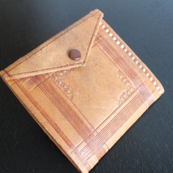 Vintage Hand tooled Leather Wallet,  FREE SHIPPING