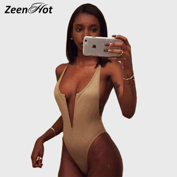 2016 New Arrival Deep V neck Backless one piece bodysuit Playsuit high cut sexy women black b