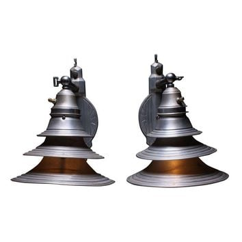 Pre-owned Industrial Art Deco Metal Sconces - A Pair