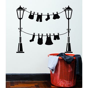 Vinyl Wall Decal Laundry Service Room Wash Clothes Lamp Stickers Mural (g1280)