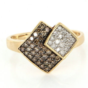 Estate 14 Karat Yellow Gold Chocolate Colored Diamond Cocktail Ring Fine Jewelry