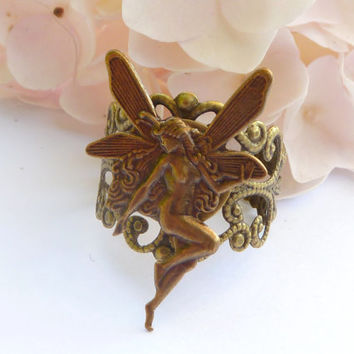 Filigree Ring in bronze with Elf, Fantasy Ring, ring fairytale, elf jewelry, elf costume ring, fairy ring, ring girl