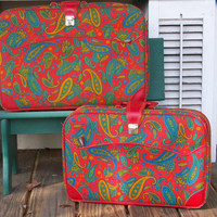 Vintage Set of Red Paisley Luggage K. Gimbel NY