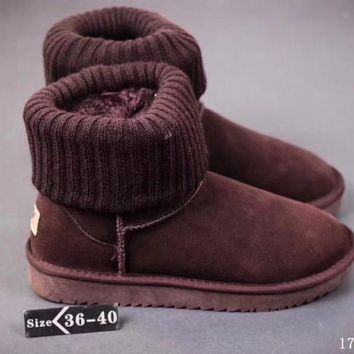 UGG Threaded curl Fashion Plush leather boots boots in tube Boots Coffee