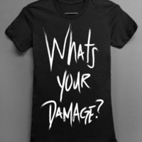 Whats Your Damage - Heathers Movie Parody - Black Tshirt - women and mens clothing