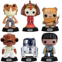 Star Wars Series 4 Funko Pop Complete Set (6) R2D2, Wicket, Lando Calrissian, Jar Jar Binks, Queen Amidala, Admiral Ackbar