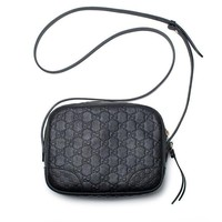 DCCKUG3 Gucci Bree GG Supreme Camera Case Black Leather Bag Handbag Authentic Italy New