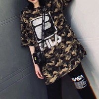 """ FILA"" Women Casual Fashion Letter Camouflage Print Loose Large Size Short Sleeve"