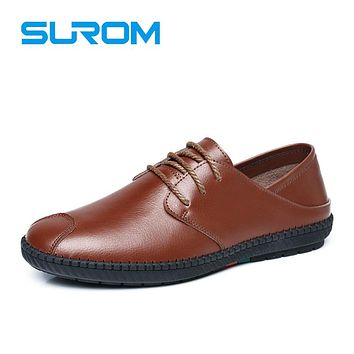 Men's Casual Leather Shoes Black Brown Solid Formal Shoe Lace Driving Moccasins Gommino Male Dress Loafers Zapatos hombre