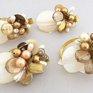 Saro Gold Bead and Mother of Pearl Napkin Rings (Set/4)