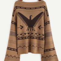 Brown Eagle Pattern Bell Sleeve Sweater