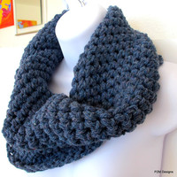 Crochet infinity scarf, chunky fashion cowl, steel blue neck warmer, unisex